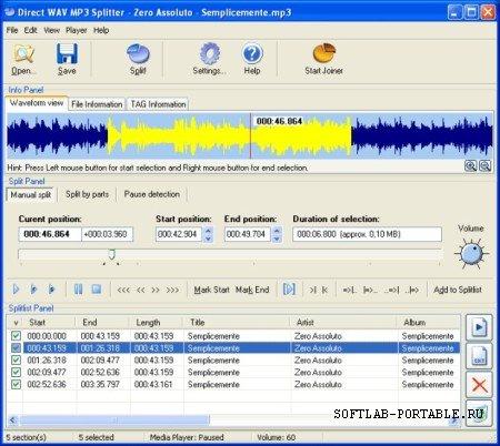 Direct WAV MP3 Splitter 2.0 Portable